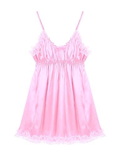 iEFiEL Herren Sissy Kleid Satin Dessous Nachthemd Trägerkleid mit Spitzen Rüschen Nachtwäsche Dekolleté für Männer Rosa und Blau Rosa L