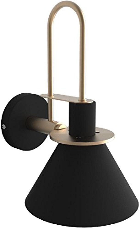 E27 Metall Wandleuchten Modern Dekorative Wandlampe Nachttischlampe Schlafzimmerlampe Innen Wandbeleuchtung Minimalistische Design Deckenleuchte Innenbeleuchtung Spiegelleuchte, Schwarz