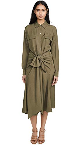 Vince Women's Tie Front Shirtdress, Olive Oil, Green, X-Small