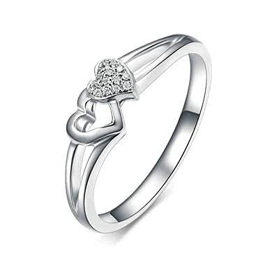 Bishilin Platino, Doble Corazón 0.03 Diamante Anillo de Ali
