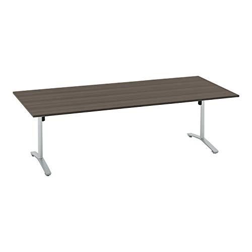 コクヨ ミーティングテーブル ビエナ 天板固定 角形 T字脚 塗装脚 配線ボックスなし 幅240×奥行105cm キャスター仕様 アッシュブラウン/フラットシルバー