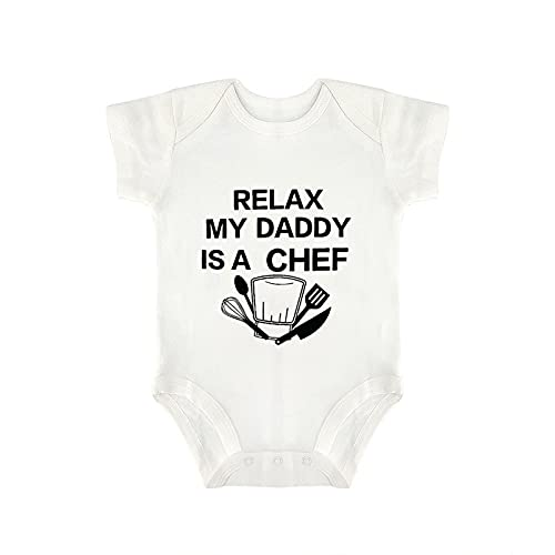 DKISEE Relax My Daddy Is A Chef Body De Manga Corta Algodón Blanco Bebé Mono 0-3 Meses, og79r1y9g36s