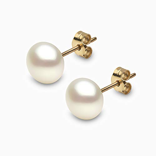 Kimura 8 mm Cultured White Button Shape Freshwater Pearl Ear Studs 9 ct Yellow Gold
