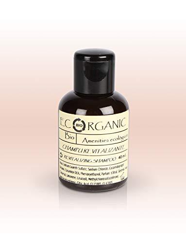 24 Botellas de Champú revitalizante 40ml Ecorganic - Amenities sostenibles para Hoteles - Shampoo - Hair Wash