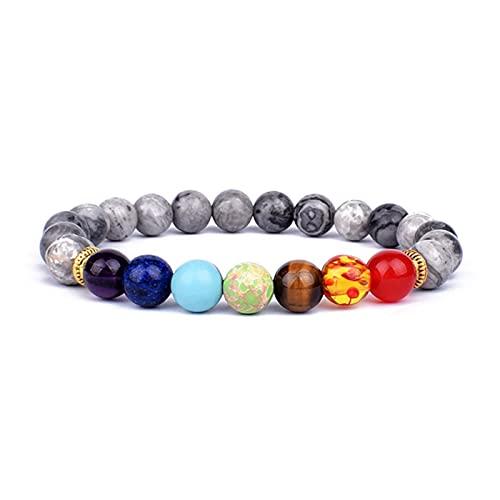ZXDC 2 uds Piedra de Ojo de Tigre Natural 7 Pulseras y brazaletes de Chakra Yoga Balance Bead Buda oración Pulsera elástica Hombres pulseira-A7,21cm