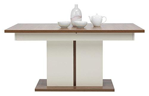 Furniture24_eu Tisch Moka MK-11 Esstisch Saulentisch Ausziehbar 160-200 cm (Kirsche/Weiß Hochglanz)