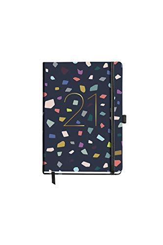 MIQUELRIUS - Agenda 2021 Colour Marble - Español, Día Página, Tamaño 155 x 213 mm (~A5), Papel 70g, Cubierta Rígida Cartón Forrado, Color Azul Marino/Multicolor