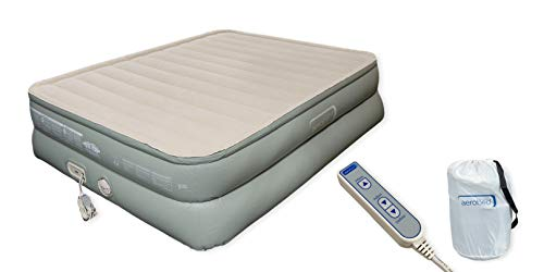 Aerobed Premier Luxury 3-Layer 20' High Queen Air Mattress with Built-In Pump and Storage Bag ( Inflated Dimensions: 60x78x20'H ) Standard Queen Sheets Fit