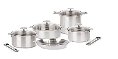 CRISTEL, 18-10 Stainless Steel Set of 13 Piece + Strate Handles, 3-Ply construction, Brushed Finish, Dishwasher oven safe, all hobs + induction, Mutine Satin collection, MADE IN France.