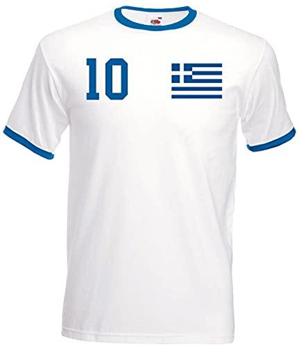 Youth Designz Herren T-Shirt Trikot Griechenland mit Wunschname + Nummer - Weiß L