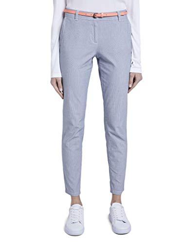 TOM TAILOR Chino Slim Hose Damen, Mehrfarbig (12320 - Thin Stripe Pants), 42/30