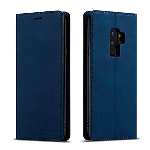 EYZUTAK Hülle für Samsung Galaxy S9 Plus, Magnetverschluss Premium PU Leder Flip Hülle mit Kartenfächern Brieftasche Standfuntion stoßfeste Silikonhülle Retro Ledertasche - Navy Blau