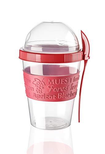 BEFA Müsli to Go | BPA Frei | Müslibecher | Deckel inkl Löffel mit Halterung | Joghurtbehälter | Obstbehälter | Salatbecher | Reisebecher | Lunchbox | Fruit (Rot)