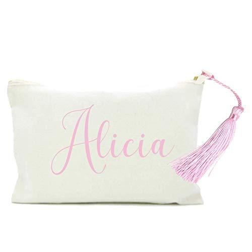 Neceser personalizado Bolso Mujer en algodón Blanco con borla y nombre en color ROSA. 2 TAMAÑOS....