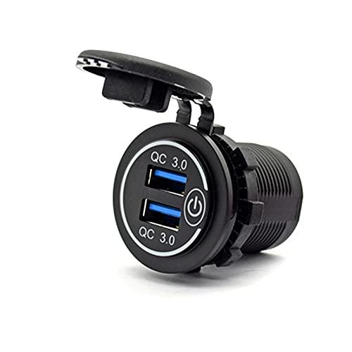 K-Park Cargador de coche USB 3.0 de carga rápida 12 V/24 V 36 W Dual QC3.0 USB Cargador rápido Toma de corriente con interruptor táctil para marina, barco, motocicleta, camión, carrito de golf innato