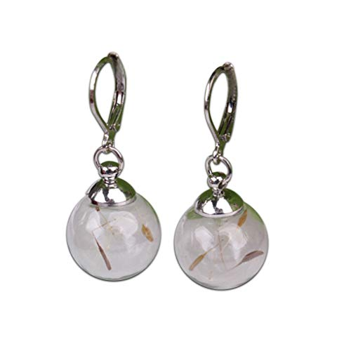 Fliyeong Premium Quality Personalized Glass Ball Earrings Dandelion Plant Dried Flower Ear Studs