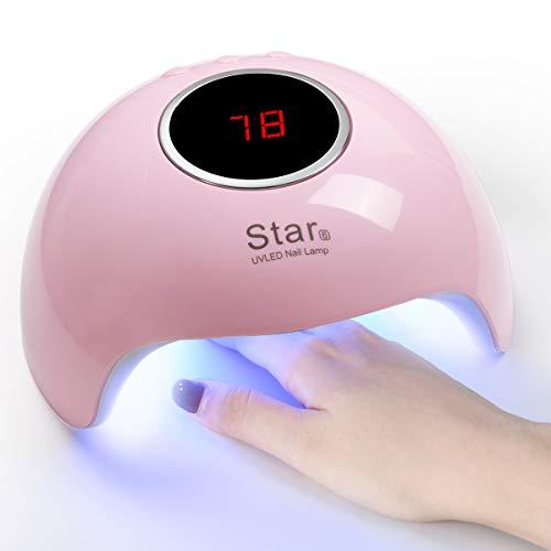 URAQT Secador de Uñas, Lámpara Led Uñas UV LED, 36W Curado de Esmalte de Gel Secador de Uñas Rápido con 18 Cuentas LED, Ajuste de 3 Temporizadores 30/60 / 90s