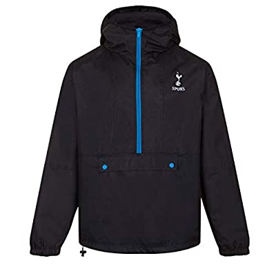 Tottenham Hotspur FC Gift Mens Half Zip Shower Jacket Windbreaker Black Large
