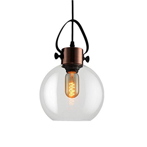 HJXDtech -Lustre rétro Industriel, Pendentif plafonnier avec Teinte en Verre et métal en cuivre Rouge, Style loft Bar éclairage de Suspension de Cuisine (A)