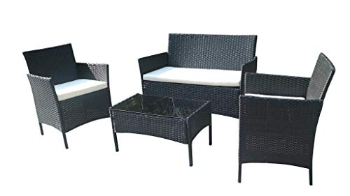 Home Essential 4 Pc Rattan Garden Furniture Set - 4 Pieces Wicker Furniture Set - (Black)