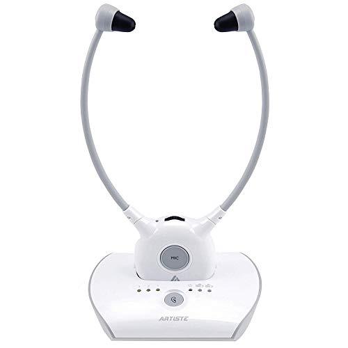 ARTISTE APH100 Funkkopfhörer für Fernseher, 2,4 GHz TV Kopfhörer Drahtlos für Ältere Menscher (3,5mm AUX, RCA, Inkl. 2er Akkus und Zwei Sets Ohrstöpseln)