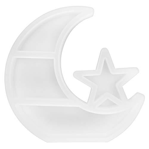 Estante de joyería DIY Craft Molde de epoxi Molde de fundición de resina de cristal Caja de almacenamiento de estrella de luna de silicona