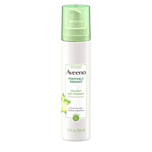 Aveeno Positively Radiant Hydrating Micellar Gel Facial Cleanser with Moisture Rich Soy & Kiwi Complex, Hypoallergenic, Non-Comedogenic, Paraben- & Phthalate-Free, 5.1 fl. oz