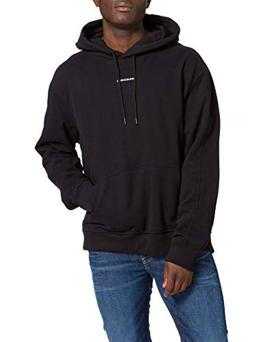 Calvin Klein Jeans Herren Branding Hoodie Kapuzenpullover mit Micro-Logo, Ck Schwarz, Large