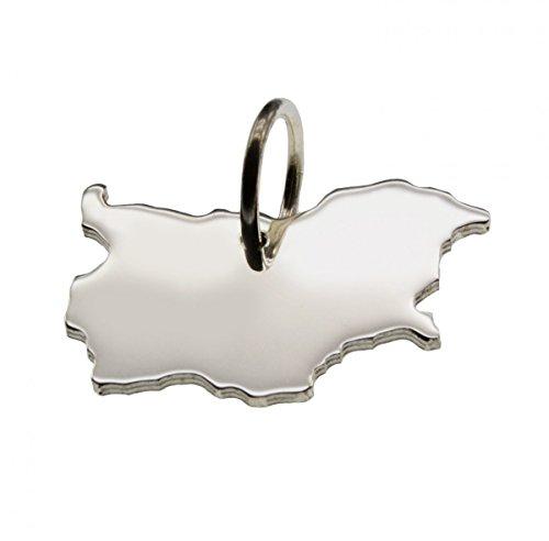 Anhänger Silber Landkarte BULGARIEN - 925 Sterling Silber Kettenanhänger massiv für Damen Herren