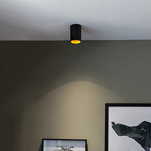 QAZQA Design/Modern Punktschwarz mit Gold/Messing - Tief/Innenbeleuchtung/Wohnzimmerlampe/Schlafzimmer/Küche Stahl Zylinder/Rund LED geeignet GU10 Max. 1 x 50 Watt