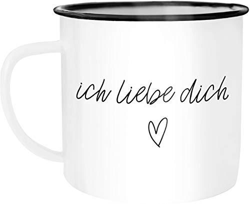 Moonworks® Emaille Tasse Becher Ich liebe Dich I love You Liebe Love Geschenk Frau Freundin Mann Freund Zuneigung Kaffeetasse weiß-schwarz unisize