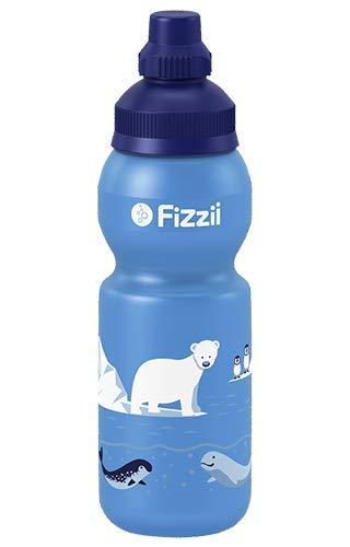 Fizzii Kinder- und Freizeittrinkflasche 330 ml (auslaufsicher bei Kohlensäure, schadstofffrei, spülmaschinenfest, Motiv: Eiswelt)