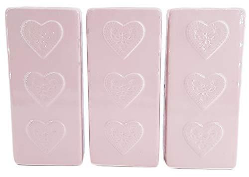 Luftbefeuchter für Heizung Set inkl. Haken - Keramik Wasserverdunster - beige matt - Wasserverdunster verdampfer verdunster Heizkörper Luftreiniger - (3 Stück Herzen rosa)