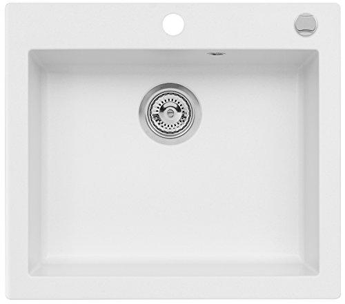 AXIS KITCHEN Mojito 60 Küchenspüle Farbe Axis Weiss Material Axigranit 60er Unterschrank Spülbecken Siphon, Exzenterbedienung