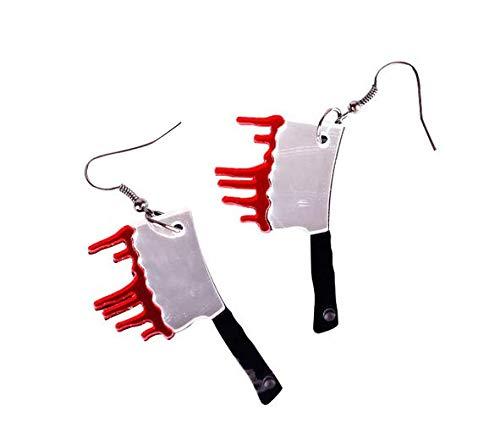 Miniblings Beil - Orecchini pendenti per Halloween, con coltello, a forma di sangue, fatti a mano, placcati in argento
