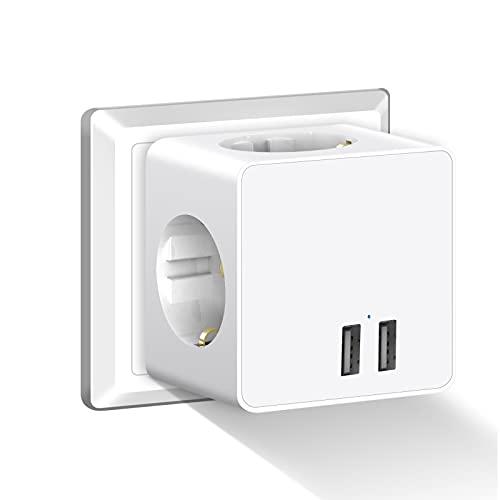 Enchufe USB, Gogotool 5 en 1 Cubo Ladron Enchufes Triple con 3 Puertos USB, Cubo Enchufe Multiple Pared, Cargador USB Compatible con Phone, Pad, Ladron USB para Hogar Oficina
