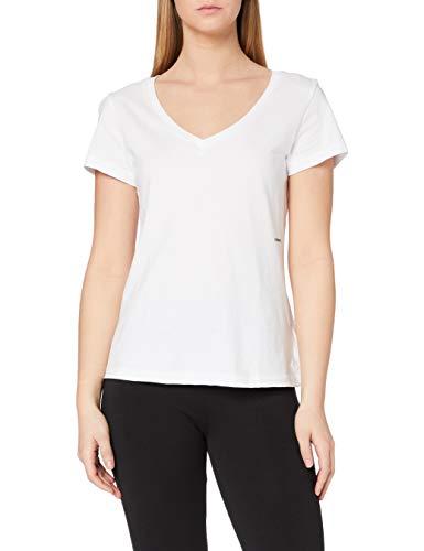 Calvin Klein Jeans Micro Branding Off Placed V-Neck Camiseta, Blanco Brillante, XS para Mujer