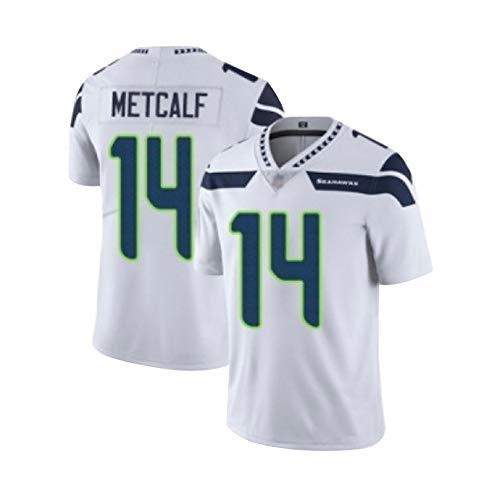 Männer American Football Trikot DK Metcalf Seattle Seahawks # 14, Rugby Jersey Kleidung Herren Fan T-Shirts Top Kurzarm-White-XL(85~95KG)