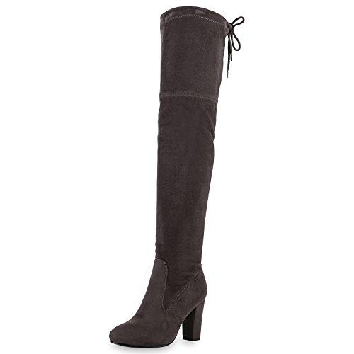 SCARPE VITA Damen Stiefel Overknees 70s Langschaft Boots Blockabsatz 164151 Grau 36