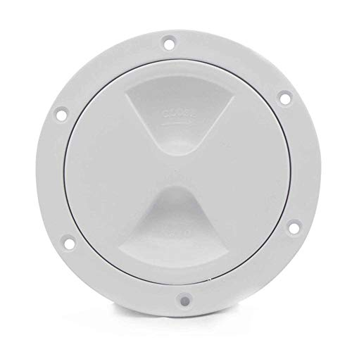 Five Oceans Marine Round Inspection Deck Plate Hatch with Detachable Smooth Center, Water Tight for Outdoor Installations, 5 inches White FO-84
