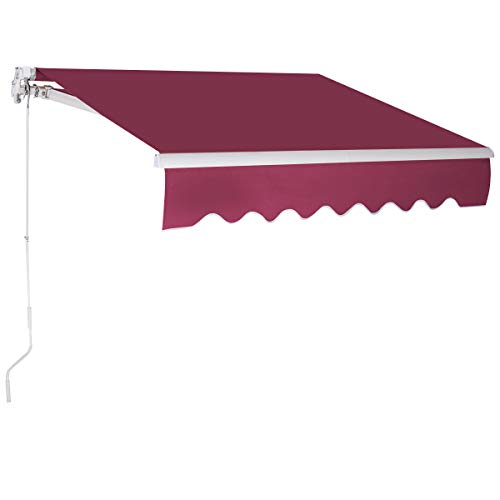 COSTWAY 3 x 2,5 m Gelenkarmmarkise Sonnenmarkise Balkonmarkise Terrassenmarkise Klemmmarkise mit Kurbel für Balkon und Veranda (Weinrot)