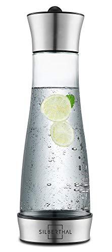 SILBERTHAL Glaskaraffe 1 Liter mit Kühlelement I Karaffe für Wasser, Tee, Eis-Kaffee I Spülmaschinenfest