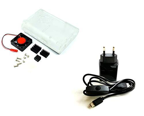 AptoFun Cargador micro USB de 5 V 2 A + cable de alimentación USB/tipo C con botón de encendido/apagado + carcasa transparente/carcasa para Raspberry Pi 4 modelo B + ventilador + disipador de calor