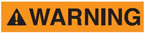 Warnaufkleber Signalzeichen ENGL. Warning Schild Folie 35x80 / 45x100 / 70x160mm, orange Made in Germany, Größe: 45x100 mm
