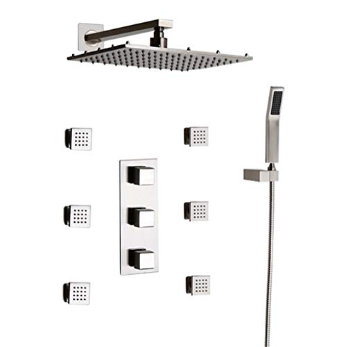 JiaYouJia 16'' Thermostatic Wall Mount Rain Shower System Rainfall Square Shower Head & Handshower & 6 Body Sprays in Brushed Nickel