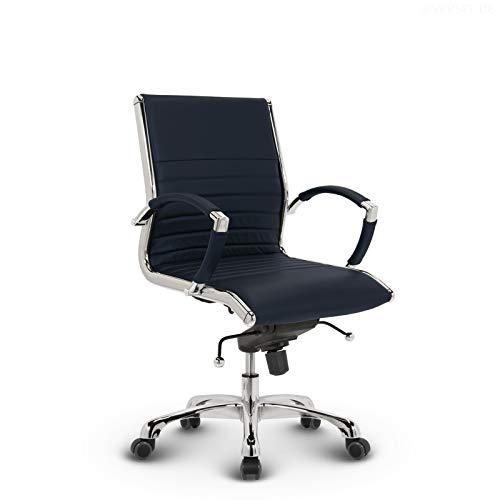 VERSEE Design Bürostuhl Montreal - Echt-Leder - dunkelblau - Konferenzstuhl, Meetingstuhl, Drehstuhl, Bürodrehstuhl, Schreibtischstuhl, Designklassiker, hochwertige Verarbeitung, 150 kg belastbarkeit