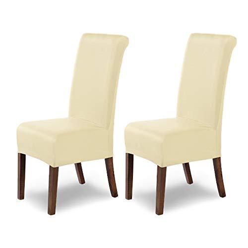 Housses de chaises SCHEFFLER-Home Marie 2 Set, résistant à l'eau élastiques Couverture Stretch, Couvre de Chaise, Crème