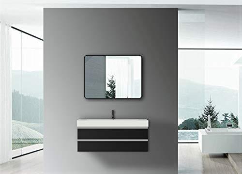 Talos Espejo de Pared de diseño, Marco de Aluminio Negro Mate, 80 x 60 cm, Hochwertiger Aluminiumrahmen in Matt Schwarz
