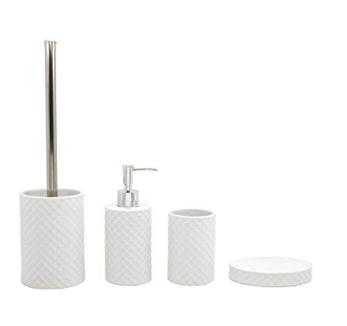 BM 4062 Set di Accessori da Bagno in Ceramica Bianco, Set Accessori Bagno Completo 4 Pezzi, Dispenser, Portaspazzolino, Portasaponetta ePortascopino