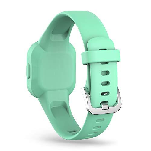 Ruentech Compatible con Garmin Vivofit JR 3 2020, pulsera de repuesto para niños, pulsera de silicona, correa de repuesto, pequeña y grande (verde azulado)